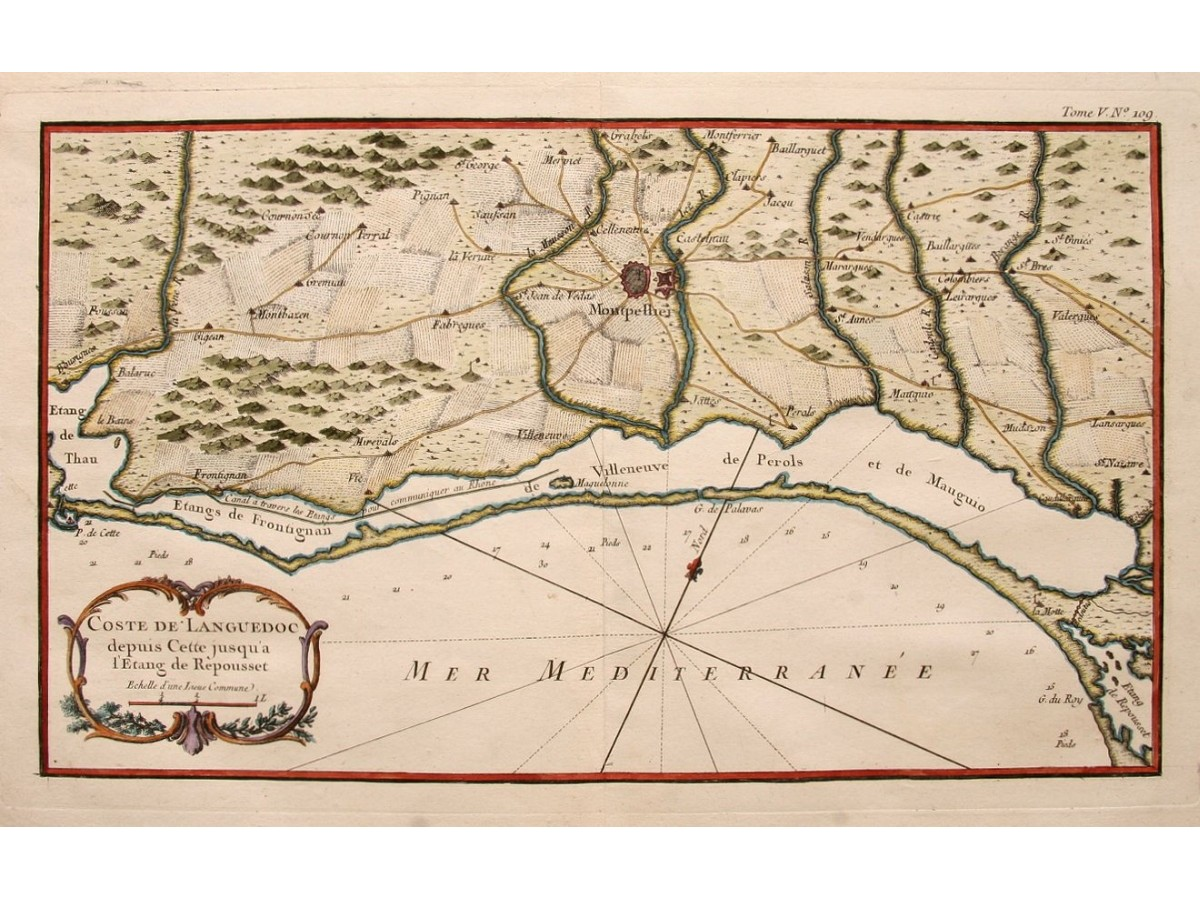 Roussillon France Map.Languedoc Roussillon Old Map France By Bellin 1752 Mapandmaps