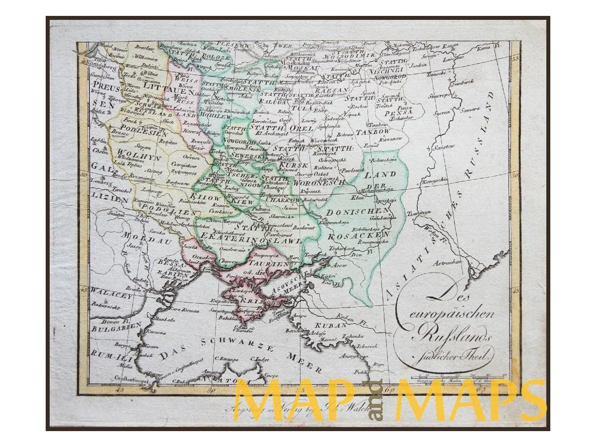 Ukraine Russia Map Des Europäischen Russlands Walch 1812 ...