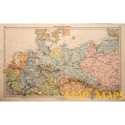 Germany Poland Latvia antique atlas map 1880