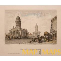 Berlin Gensdarmen market Germany antique print 1849