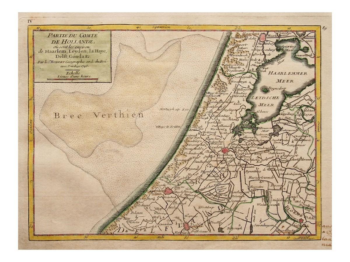 Dutch antique map South Holland Haarlem, Delft, Gouda, Haarlem 1748 ...