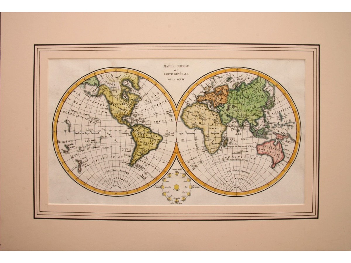 Engraved double hemisphere world map, c.1800 Anonymous - MapandMaps.com
