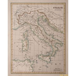 1838 antique map Italy, Sicily Corsica by Monin Fleming