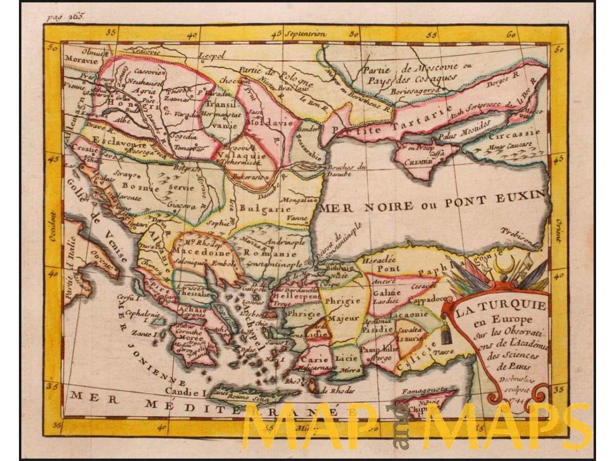 Europe Turkey old map La Turquie en Europe by Buffier ...