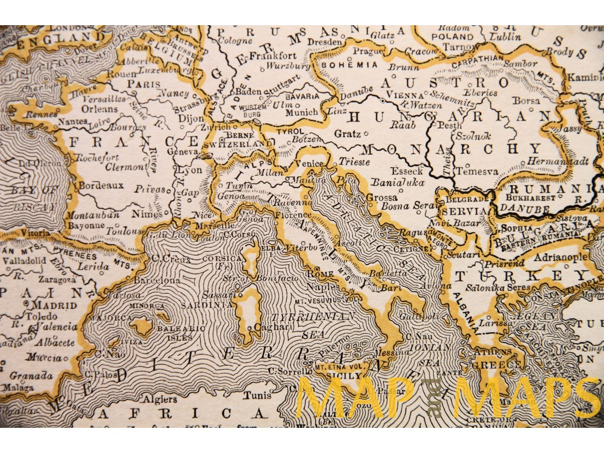 Old map, Map of Southern Europe, Turkey in Europe, Anonymous c.1900