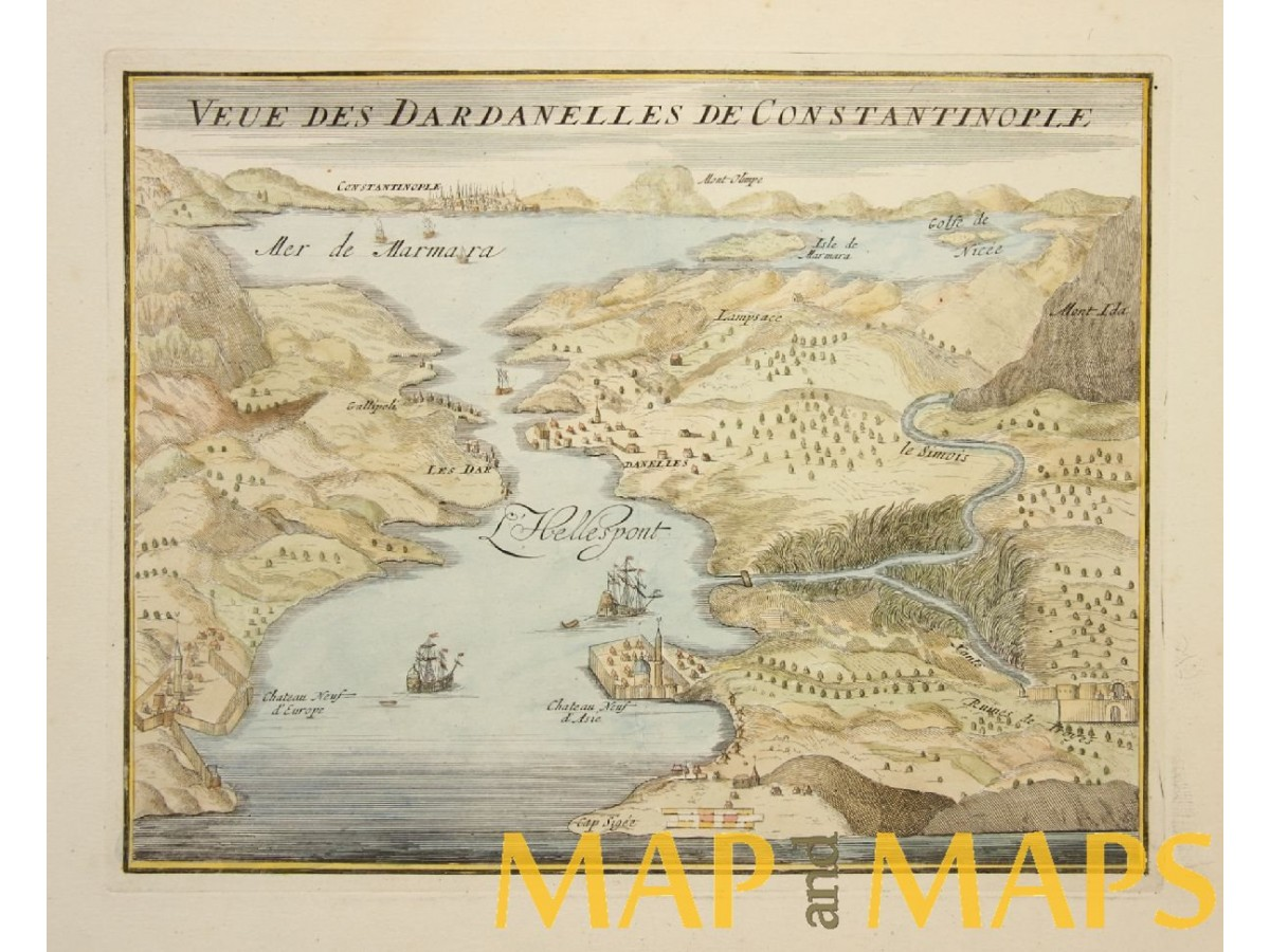 DARDANELLES AND CONSTANTINOPLE OLD PLAN BY DE FER 1695 - MapandMaps.com
