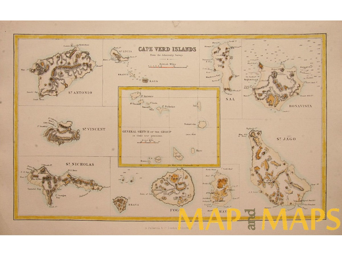 CAPE VERDE ISLANDS AFRICA 1855 ANTIQUE MAP - MapandMaps.com