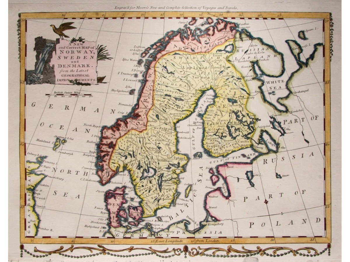 Norway sweden and denmark bowen 1780 mapandmaps norway sweden denmark antique map by bowen 1780 loading zoom gumiabroncs Images