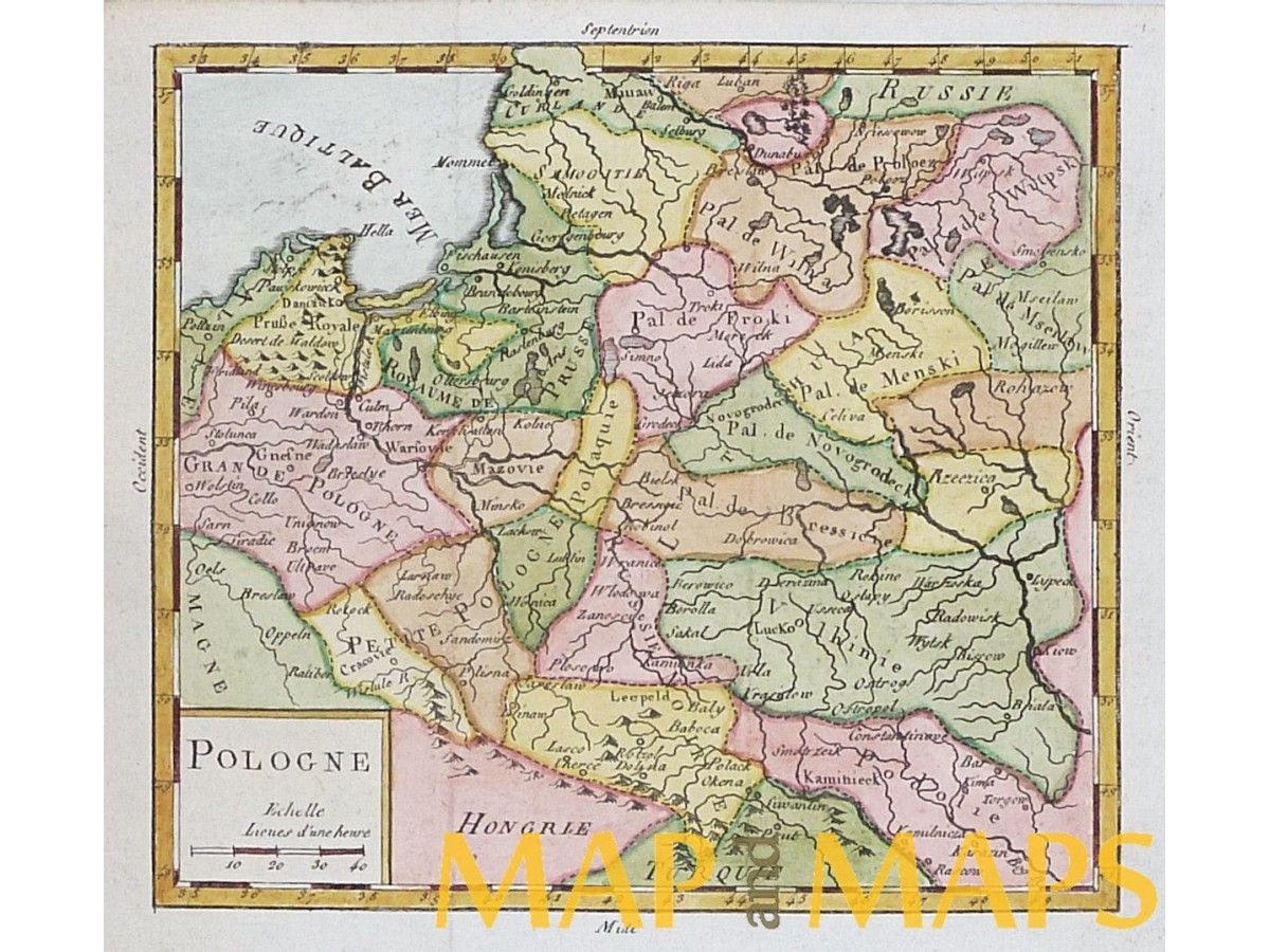 Poland Antique Map Vaugondy 1756 Mapandmaps