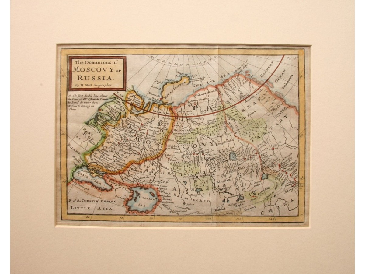 Antique Russian map shows Japan Korea and China Walls by H. Moll ...