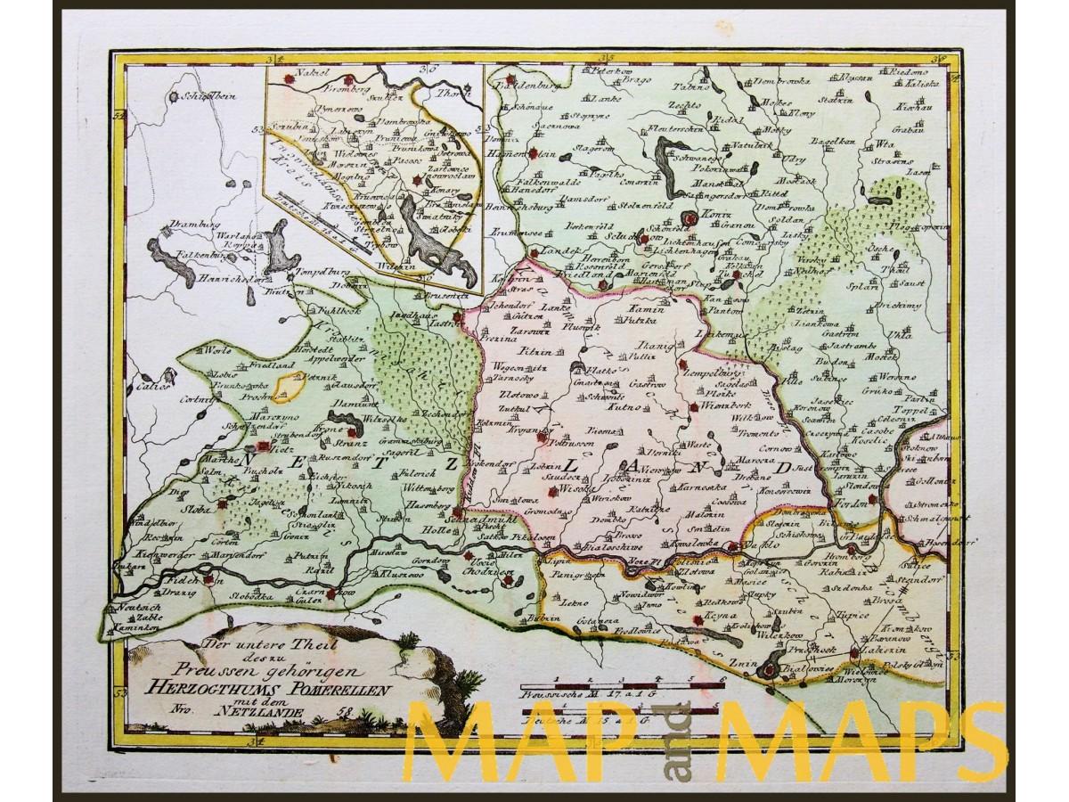 Duchy Of Pommerellen Poland Antique Map Von Reilly 1791 Mapandmaps