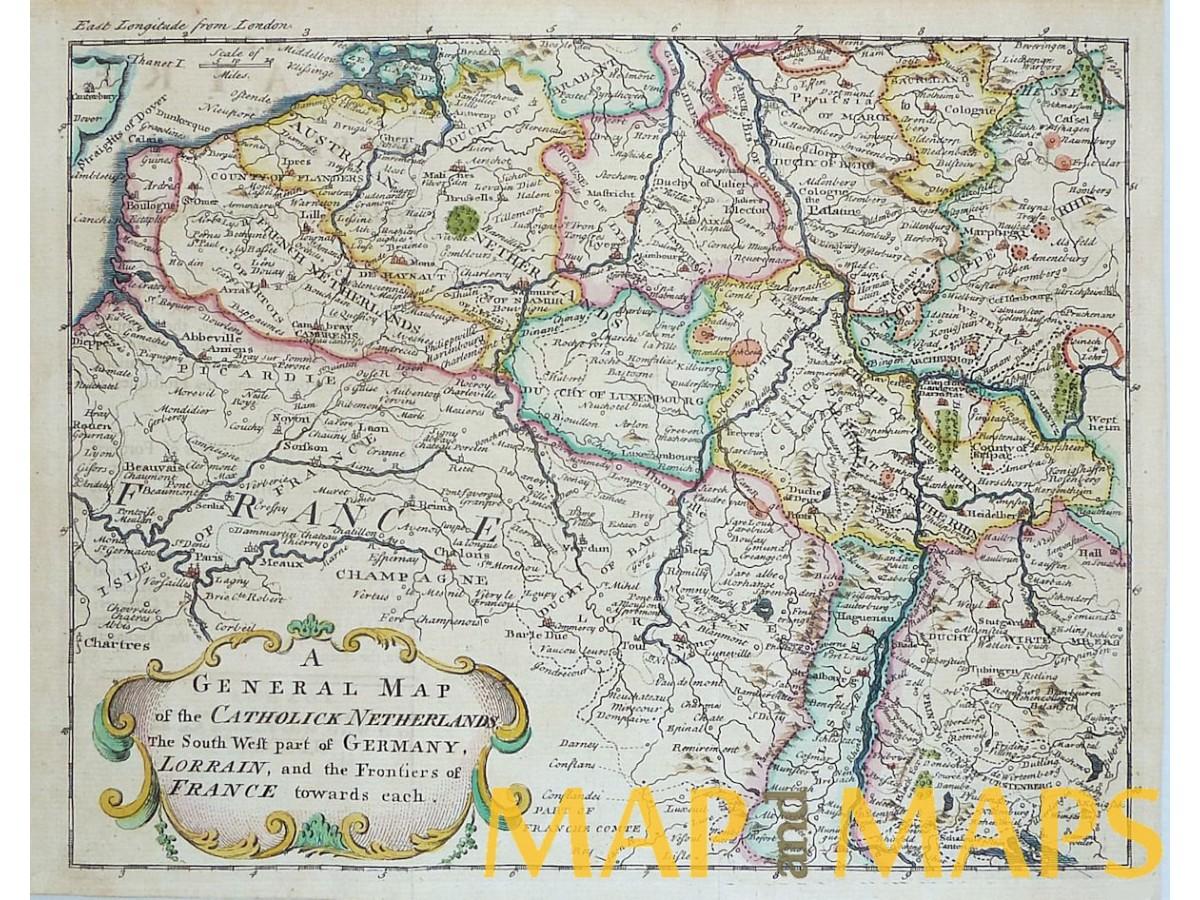 Catholic Netherlands Belgium German France antique map ...