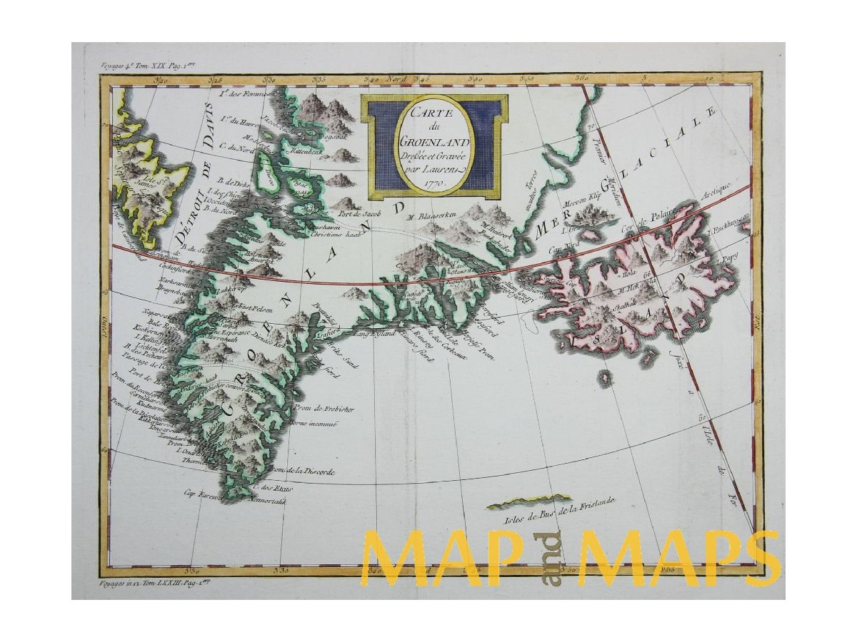 Map Of Canada Greenland And Iceland.Carte De Groenland Greenland Iceland Bellin Mapandmaps