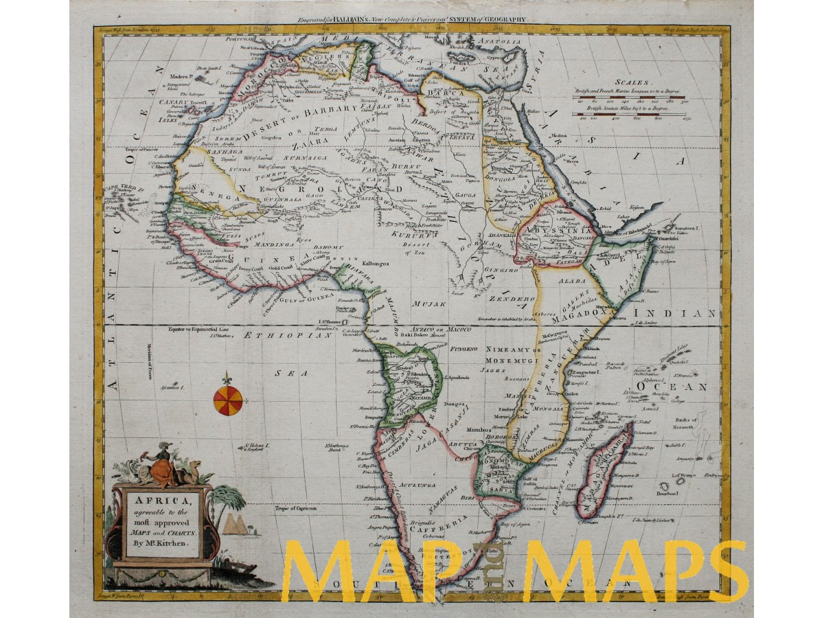 Africa Antique Map Hottentots Land Congo Biafra, Kitchin