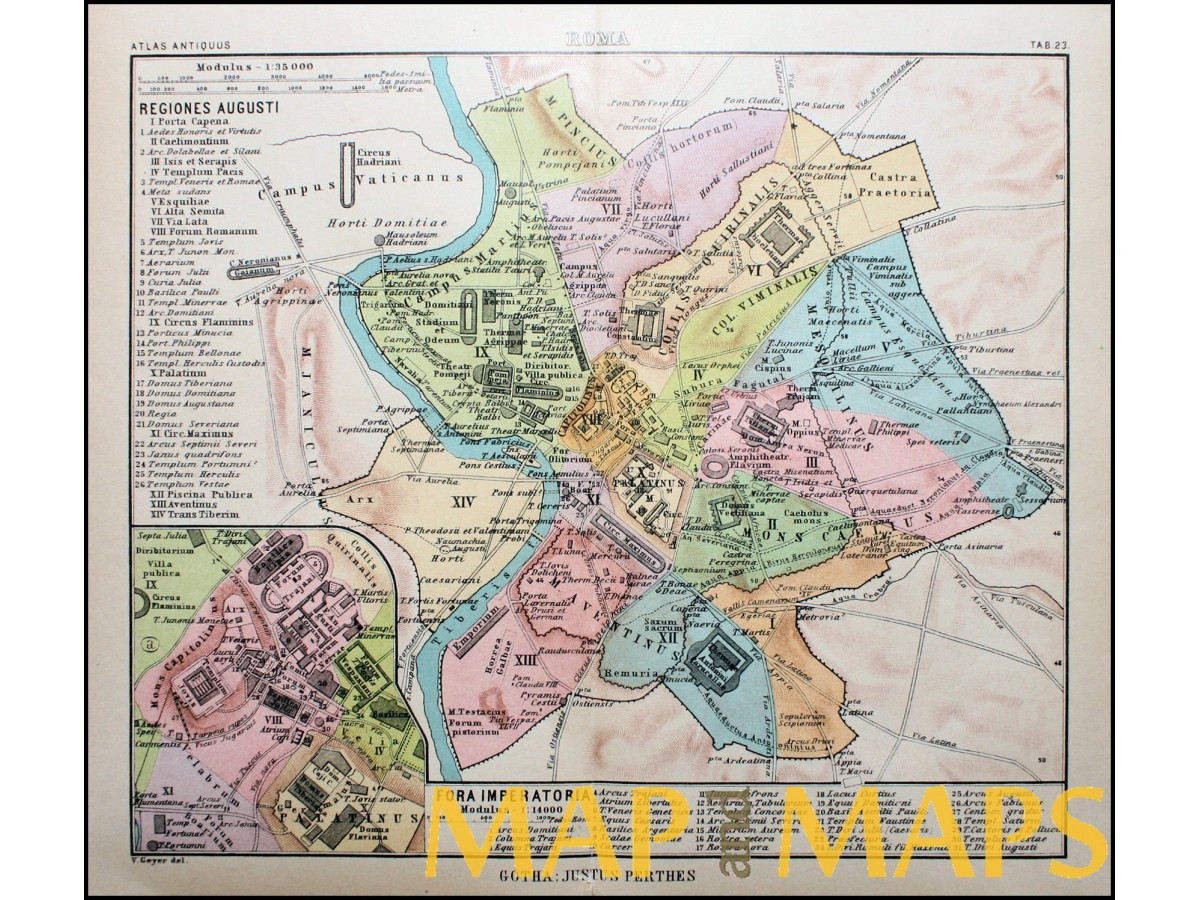 Roma Antique map Rome Italy Atlas antiques by Perthes | Mapandmaps