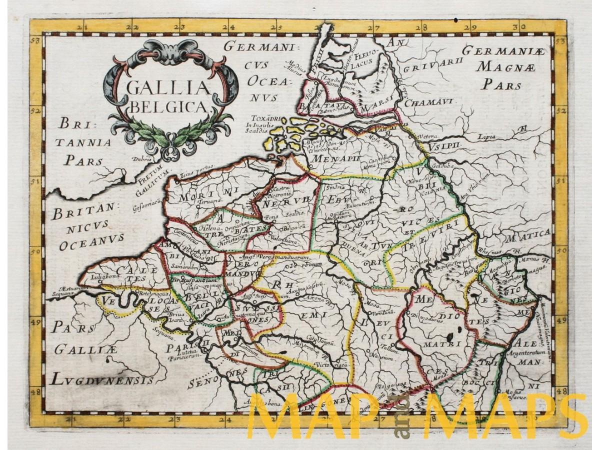 Gallia Belgica old map Belgium by Philip Briet 1648. | Mapandmaps on