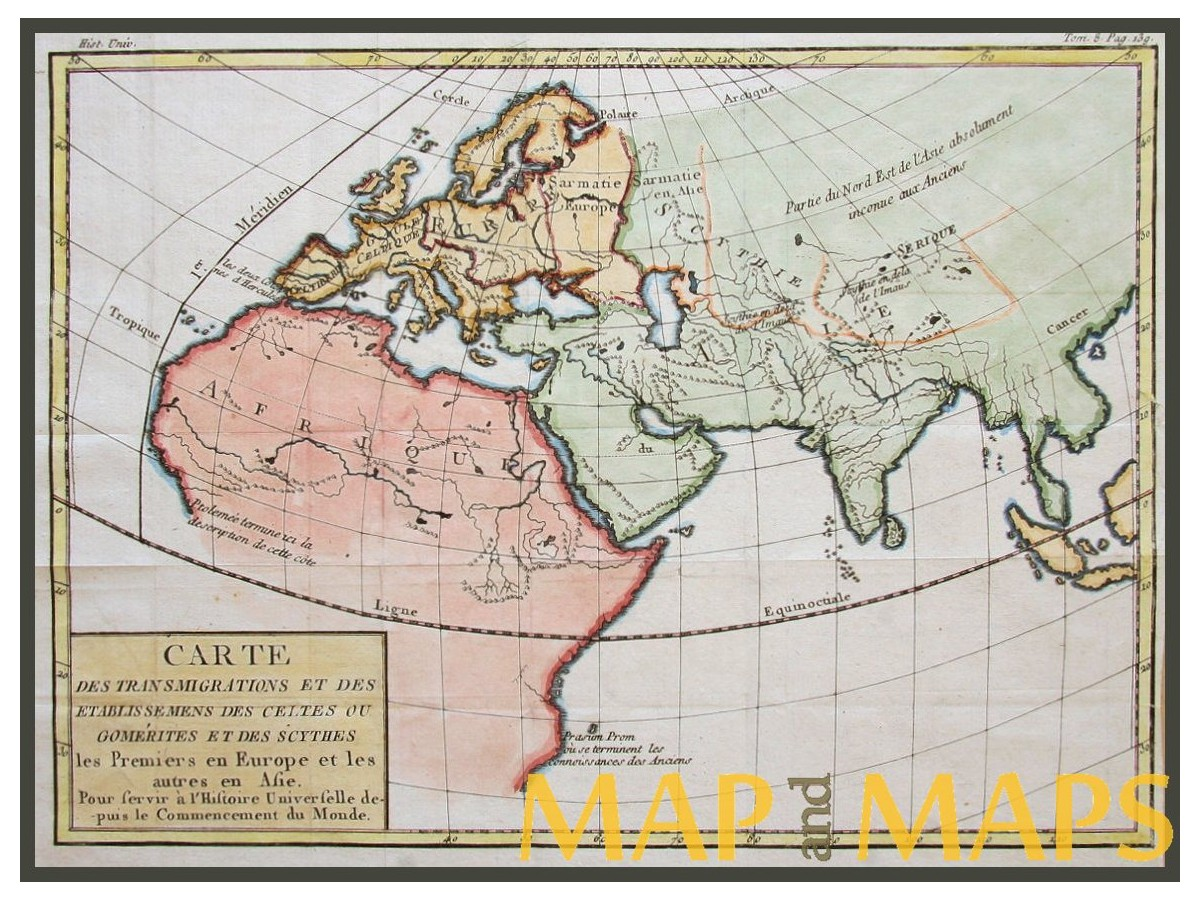 Europe Africa Asia continents, antique map by DUMONDE ...