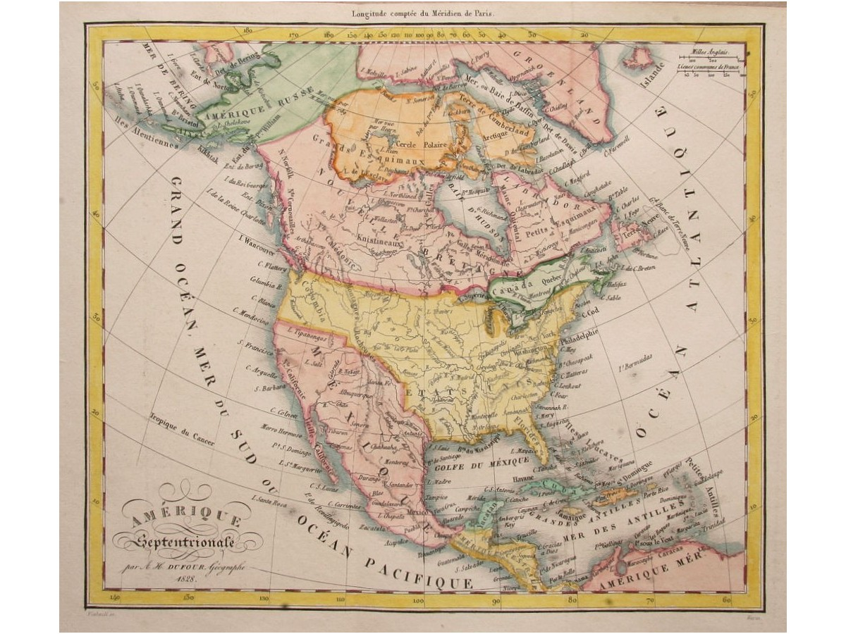 America Canada Mexico Map by Dufour 1828 - Mapandmaps