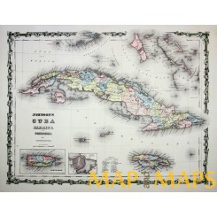 ANTIQUE MAP CUBA JAMAICA AND PORTO RICO BY JOHNSON & BROWNING 1859