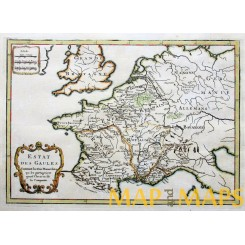 1750 map France, Roman Empire in Gallia by Cellarius.