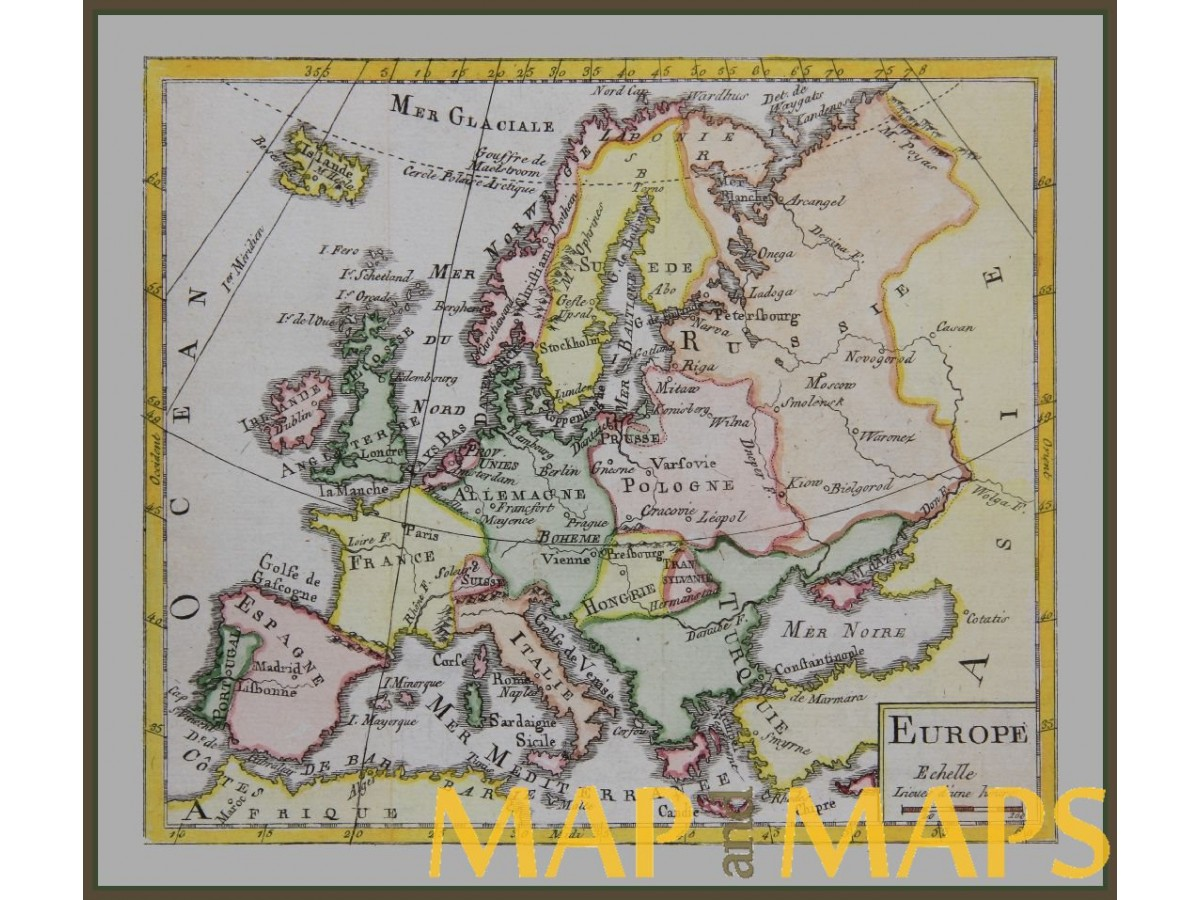 ANTIQUE MAP – EUROPE, POLAND, ITALY, HONGARY BY BUFFIER ...