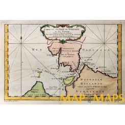 ANTIQUE MAP STRAIT OF LE MAIRE ARGENTINIA OLD ENGRAVING BY BELLIN 1758