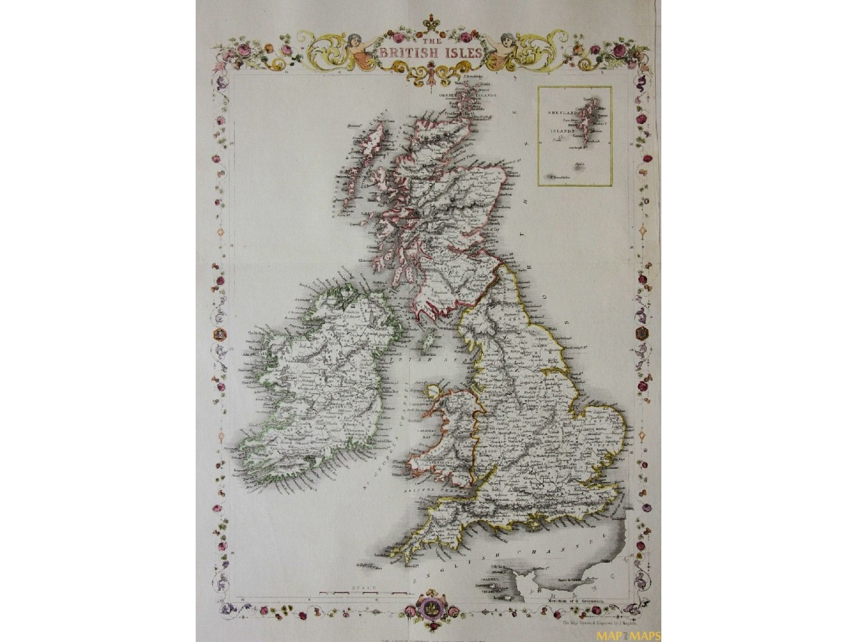 The British Isles Ireland Scotland Wales Old Map Tallis