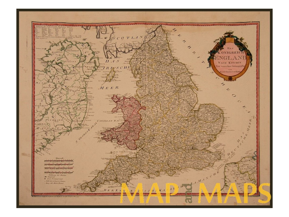 Map Of England Wales.Kingdom England And Wales Early Map Uk Von Reilly 1795