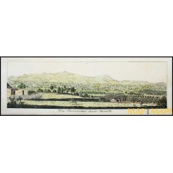 Antique panoramic print of Marseille, France by Bollingen 1790.