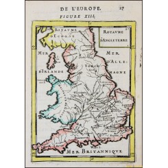 Kingdom of England old map Royaume D'Angleterre Mallet 1683