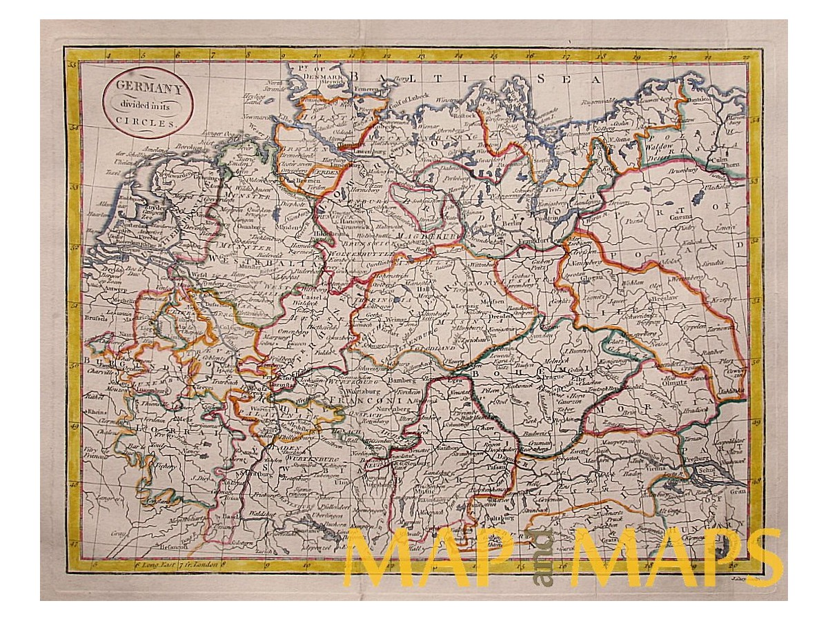 Germany States antique old map by J. Cary 1800 - MapandMaps.com