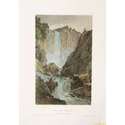 Fall Des Velino. old print Italy Meyer 1860