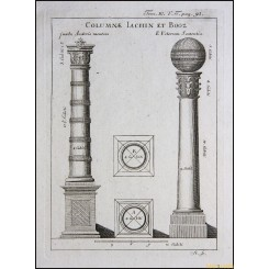 THE PILLARS OF JACHIN AND BOAZ ANTIQUE PRINT AUGUSTINI CALMET 1789