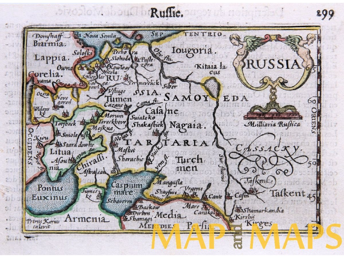 RUSSIE RUSSIA TARTARIA CASPIAN SEA RARE ANTIQUE MAP PETRUS ...
