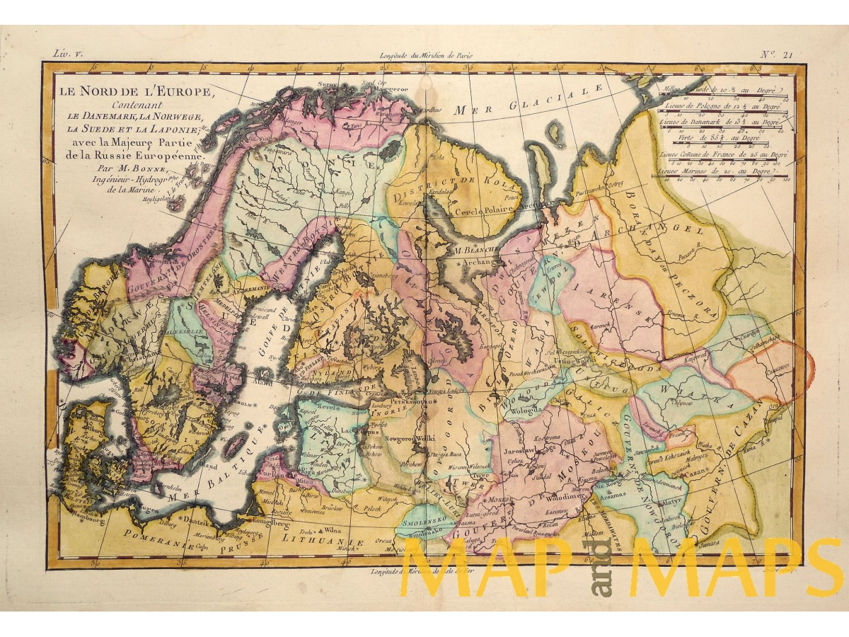 Map Of Europe 1780.Scandinavia Russia Old Antique Map Nord De L Europe Boone Mapandmaps