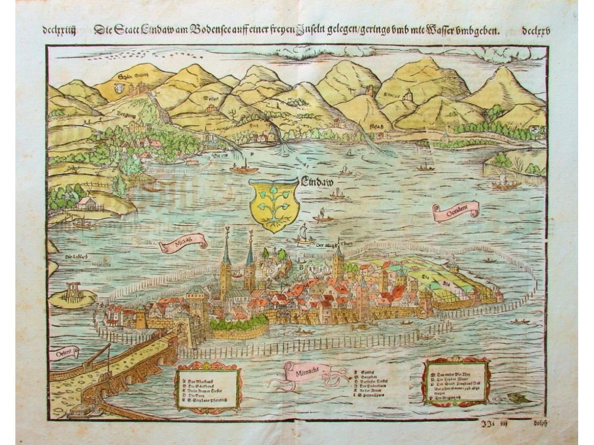 Lindau Germany Map.Lindau Germany Antique Woodcut Lindaw By Munster 1570 Mapandmaps