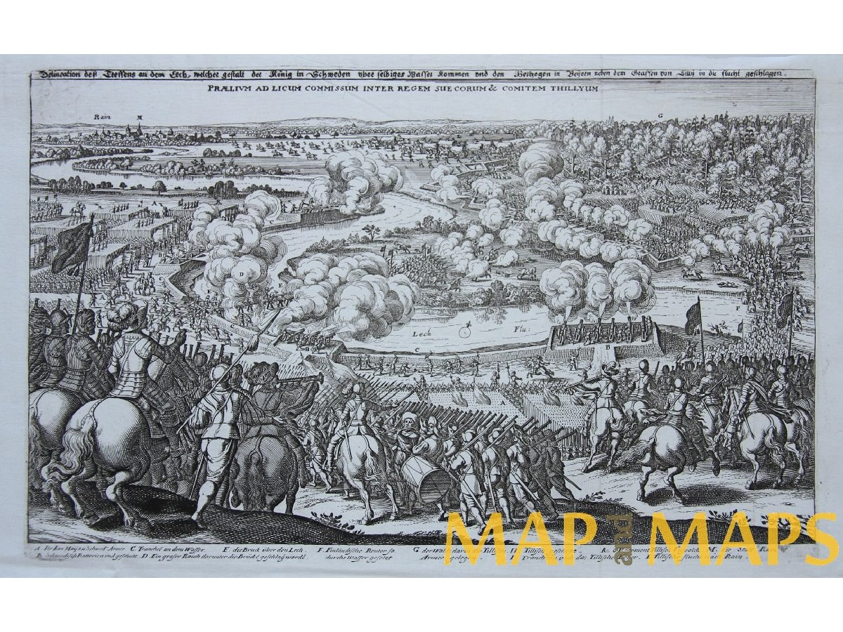 OLD ENGRAVING THE CONQUEST OF OPPENHEIM THIRTY YEARS WAR MERIAN 1633.  Loading zoom