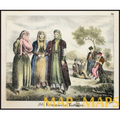 Antique print, Krimmische Tatars, Ukraine, 1834