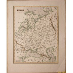 1838 antique map Russia, Poland, by Monin Fleming