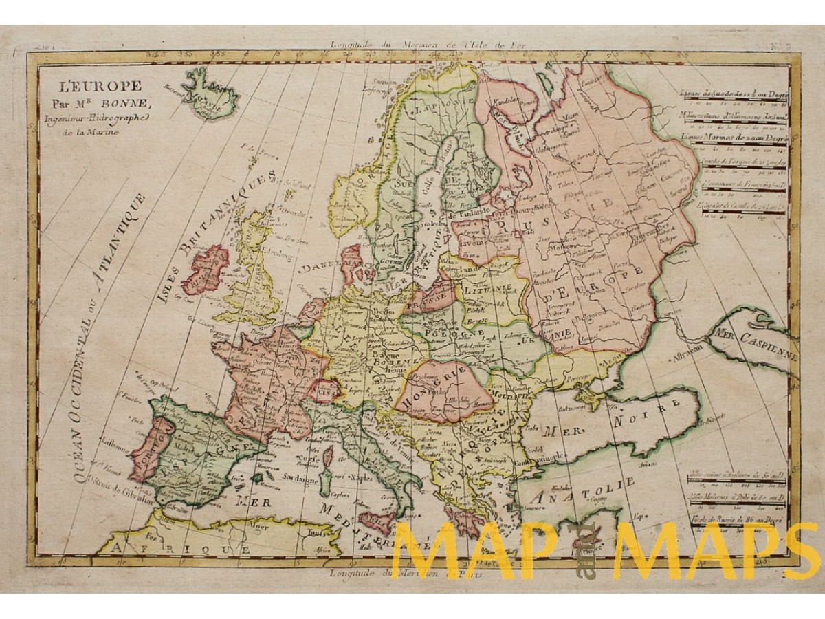 Old Map Of Europe L Europe Par Mr Bonne 1787 Mapandmaps