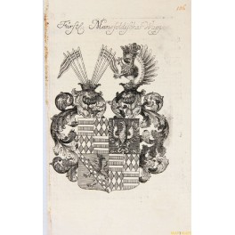 ROYAL COAT OF ARMS MANSFELDISCHES CREST COPPER ENGRAVING CHRISTOPH WEIGEL 1747