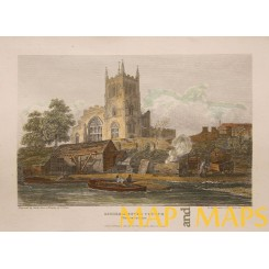 KIDDERMINSTER CHURCH, WORCESTERSHIRE antique print 1814