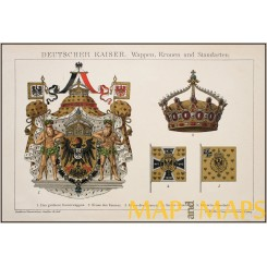 German Coat of arms crowns and banners, old print, Brockhaus encyclopedia 1882