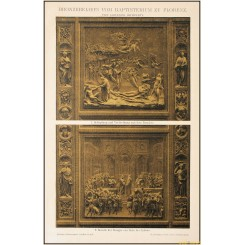 Florence Baptistery, bronze reliefs, old print, Brockhaus encyclopedia 1892
