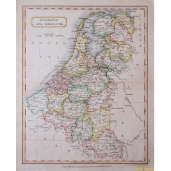 Netherlands Belgium Luxembourg old map Longman 1860