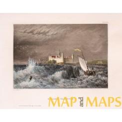 Kronborg Castle, Helsingor, Denmark, old print Meijers 1850