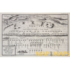 The Battle of Lens France Antique engraving 1768 PLAN DE LA BATAILLE DE LENS