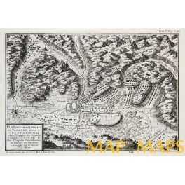 Battles of Freiburg Antique engraving 1768 PLAN DES TROIS COMBATS DE FRIBOURG