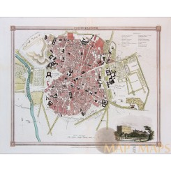 MADRID Spain Antique plan Royal Palace Madrid by ORR & SMITH 1836
