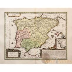 HISPANIAE VETERIS DESCRIPTIO Antique map Old Spain Janssonius 1638